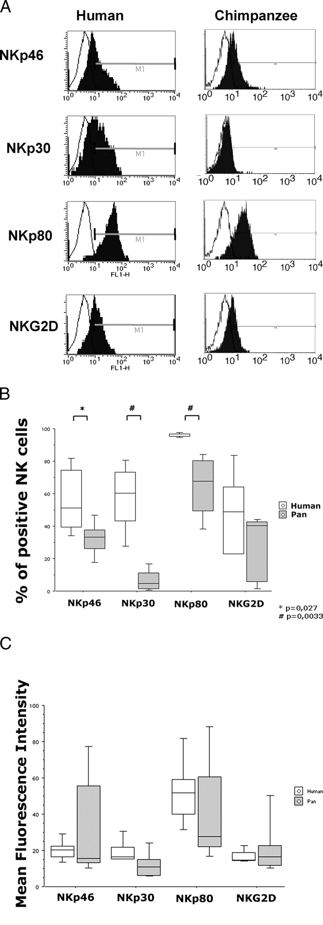 Differential NKp30 Inducibility in Chimpanzee NK Cells and