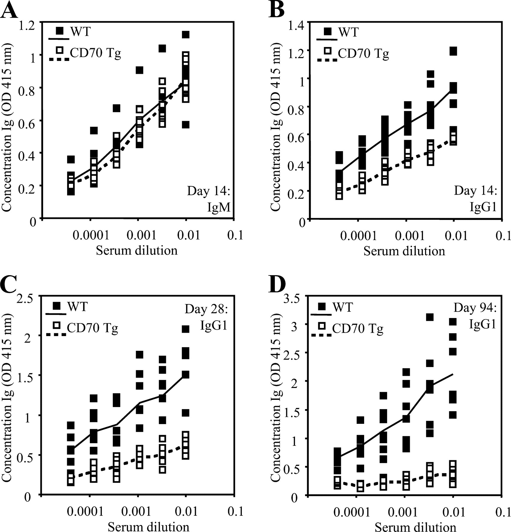 Chronic CD70-Driven Costimulation Impairs IgG Responses by